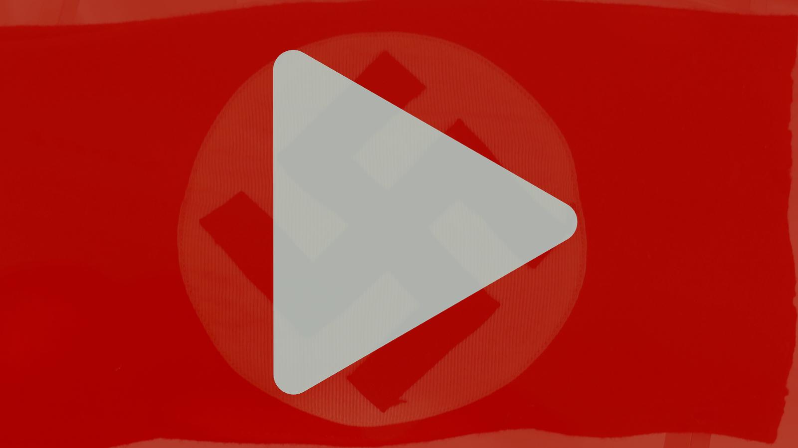 YouTube-Logo über Hakrenkreuz
